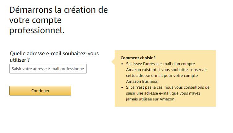 entrer votre mail amazon business