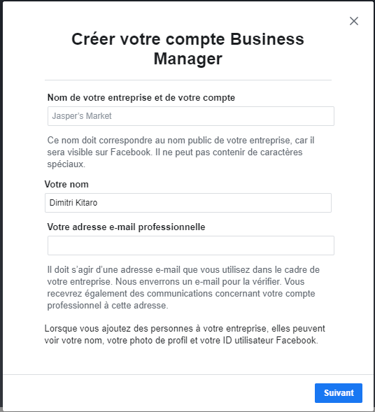 Facebook business Manager informations