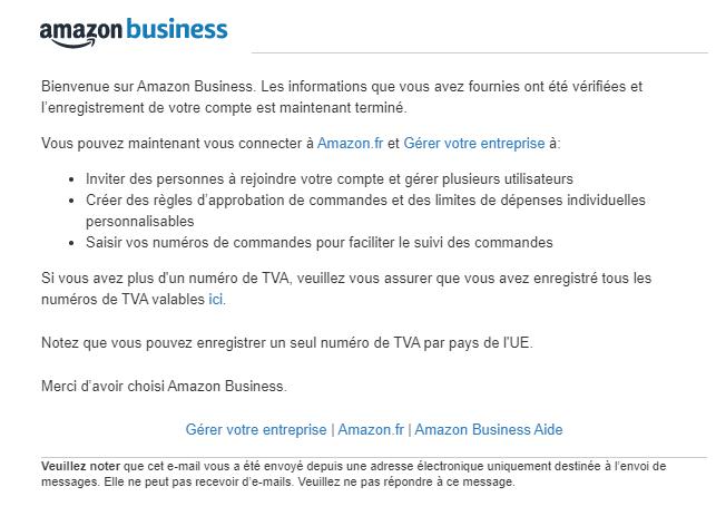 Mail inscription confirmé amazon business france