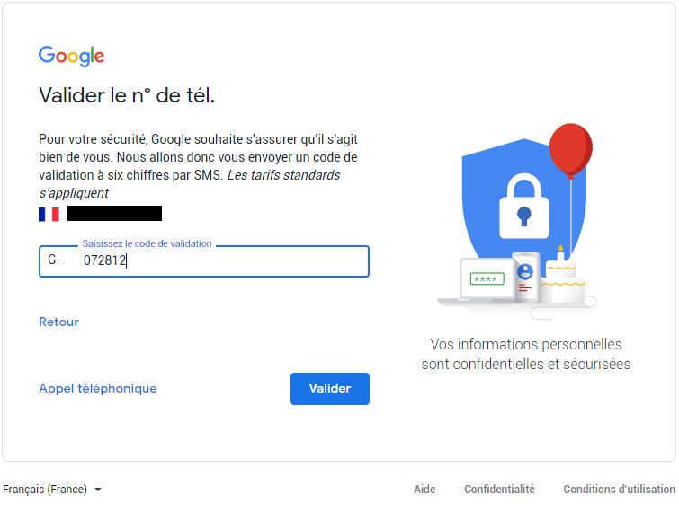 code de sécurité gmail