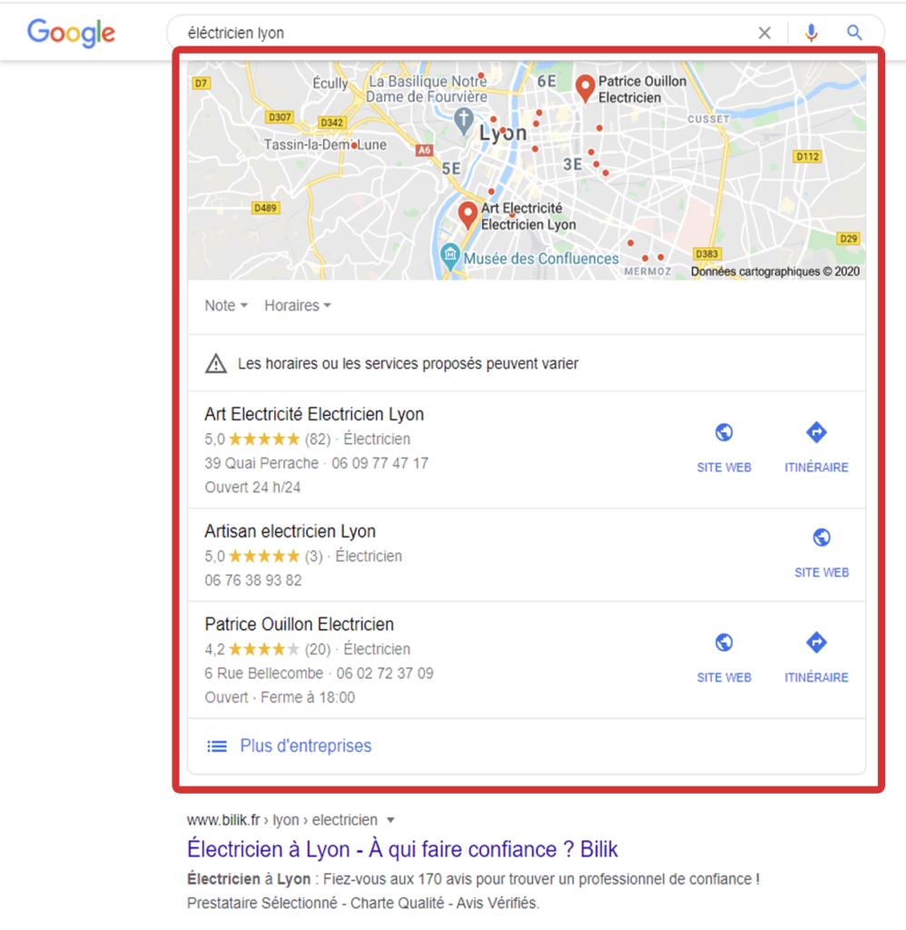 résultat pack local recherche google