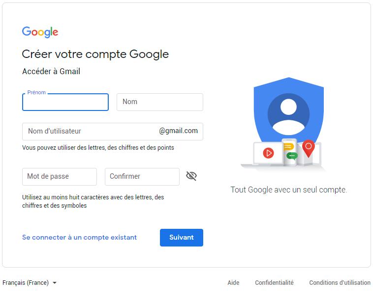 indiquez vos information gmail