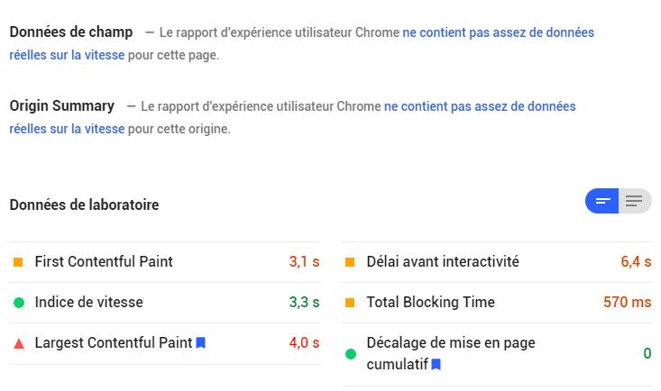 résultats google page speed