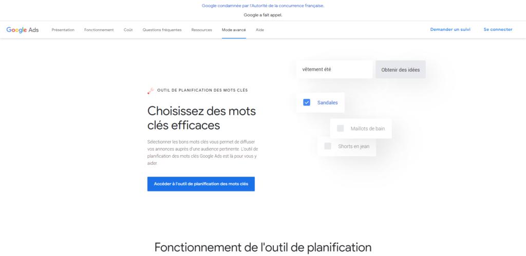 Google keyword planner pour généré des mots clés gratuitement