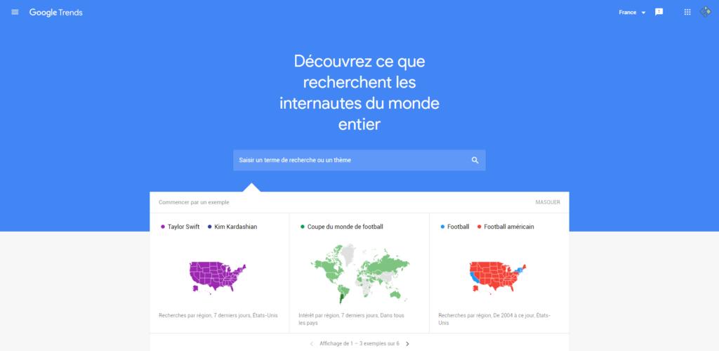 Google trend pour généré des mots-clés tendance