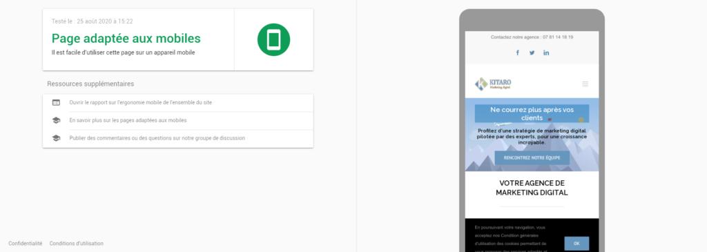 Résultat du teste d'optimisation mobile de Google