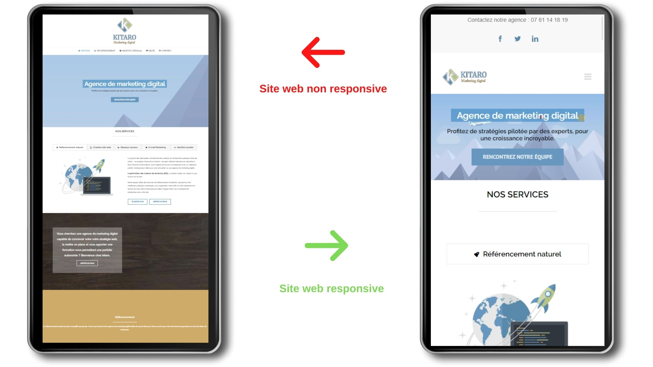 exemple site web responsive vs non responsive